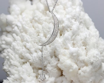 Sterling Silver Crescent Moon & Star Necklace!