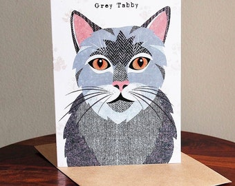Grey Tabby cat greetings card