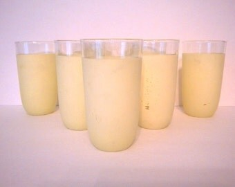 Mid Century Libby  Pale Yellow Frosted Tumbler