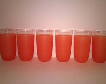Mid Century Libby Coral Frosted Tumblers