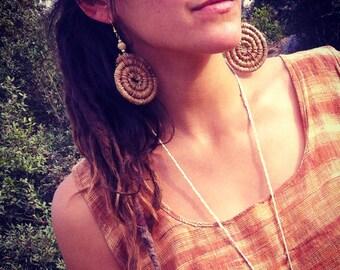 Organic earrings TRIBAL- pine needle Earrings  Large SIZE  gipsy jewelry