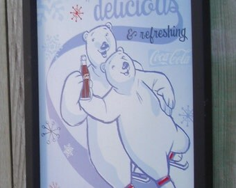 Wood Framed Reproduction Tin Sign, Coca Cola Delicious and Refreshing, Coca Cola Polar Bears, 17 1/4 by 13 1/2 inches., Free Shipping