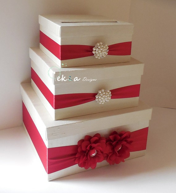 Winter Wedding Gift Card Box : Wedding card box holder / wedding money box / wedding card