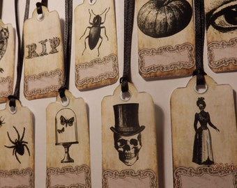 Pack of 10 Steampunk / Halloween  gift tags.