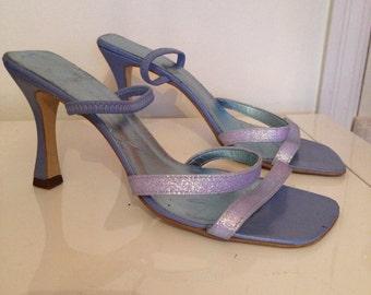 Pastel Blue Glitter Strappy Sandals