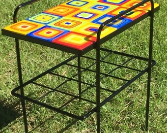 Hip To Be Square, One Of A Kind Hand Painted Table, Crazy Cool Squares
