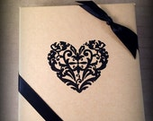 "Black Floral Heart Embossed Jewelry Gift Box, 4"" x 4"" x 1"" Embossed Gift Box, Jewelry Gift Wrap, Valentines Day, Bridal Party Gift Box"
