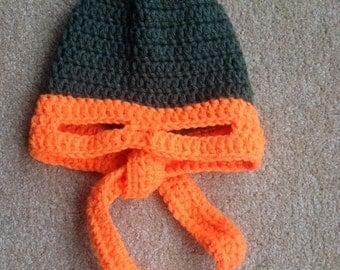 Mikey orange ninja turtle crochet beanie