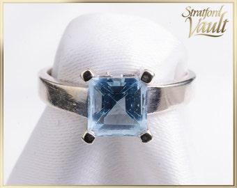 Vintage ~ Ladies Blue Topaz Right Hand Ring ~ 10K White Gold ~ 6.0 x 6.0 mm Princess Cut Blue Topaz  ~ STR_008 ~ 700.00