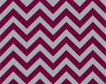 Maroon and grey chevron craft  vinyl sheet - HTV or Adhesive Vinyl -  large zig zag pattern HTV151