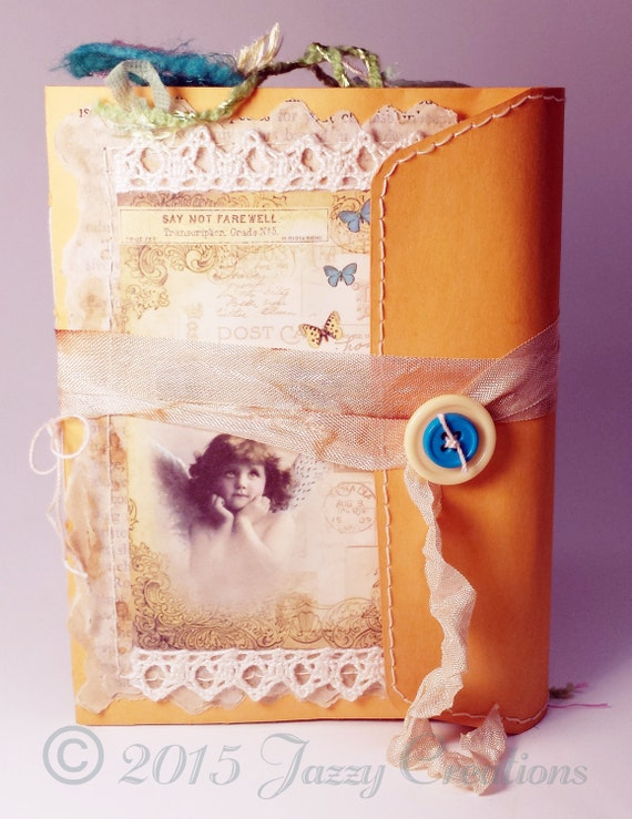 MADE TO ORDER ~ Handmade Envelope-Covered Junk Journal, with Stitching and Lace Details