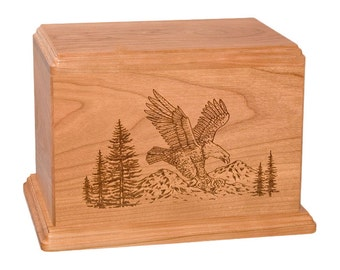 Cherry Eagle Wood Cremation Urn