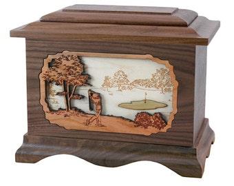 Walnut Golf Ambassador Wood Cremation Urn