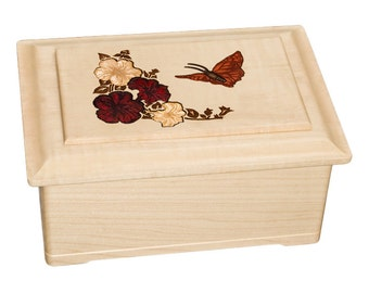 Maple Butterfly Top Wood Cremation Urn