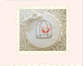Caged Bird Hand Embroidery - Holiday Embroidery from Amelie and Henri
