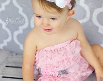 Pink and gray headband, gray and pink headband, light pink headband, gray headband, Pink baby headband, baby headband, girls pink headband