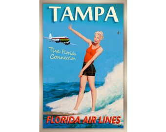 "TAMPA Florida Airlines DC-3 Plane Poster -3 sizes up to 24x36"" New Retro Sandra Dee Gidget Surf Pin Up Big Kahuna Travel Art Print 249"