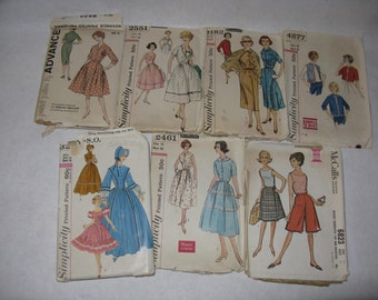 Lot of 7 vintage dress patterns Simplicity McCall's Advance miss size 16 bust 36