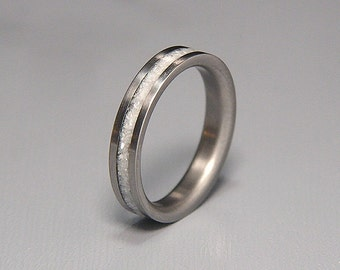 White Mother of Pearl Inlay Titanium Wedding Band or Ring