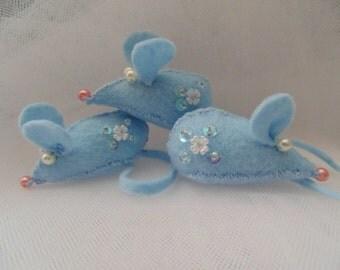 Winter Blue Mice Ornaments Set of Three Wedding Favors