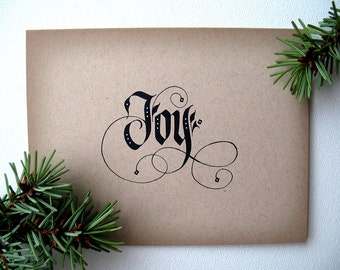 Gothic Christmas Cards | A2 Christmas Cards | Calligraphy Card | Christmas Joy | Holiday Cards |  Black and White Christmas