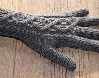Merino Wool Gloves with cable pattern - Charcoal - Dark Grey