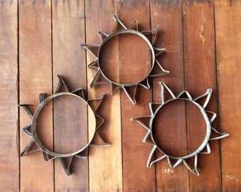Sun Sculpture From Recycled Wine Barrel Metal Hoops - Small