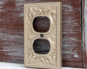 Outlet Cover, Outlet Plate, Antique Gold Wall Plug Cover Electrical Outlet Plate, Outlet Plate Cover, Painted Outlet Cover, Receptacle Cover
