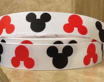 5 YDS Red and Black Mickey Heads Ribbon