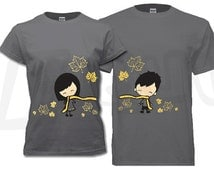 Couple T-shirt - his and hers, Fall maple leaves charcoal theme. Unique gifts for Valentine's, Anniversary, Wedding, Newly weds, Honey Moon