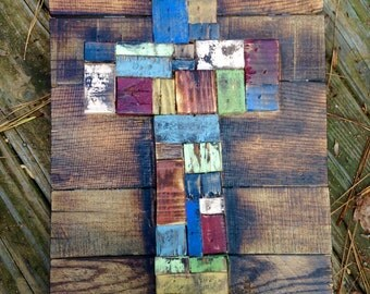 Distressed, Rustic Reclaimed Wood Patchwork Cross