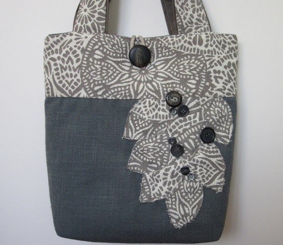 Womens Grey Tote Bag, Blue Shoulder Bag, Large Tote Bag, Blue Tote Bag, Blue Handbag, Grey Shoulder Bag, Fabric Tote Bag, Bags and Purses