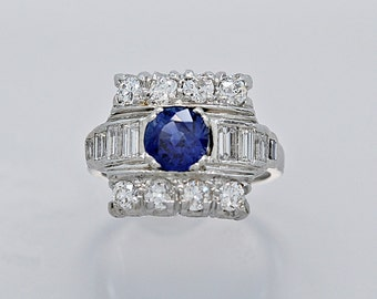 Art Deco Platinum 1.38ct. Sapphire, Diamond Engagement/Fashion Ring - J34861