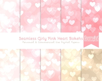 50% OFF Seamless Girly Pink Heart Bokeh Digital Paper Set - Personal & Commercial Use