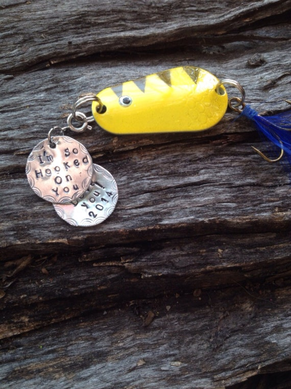 Personalized fishing lure with 2 removable hand stamped tags for Names of fishing lures