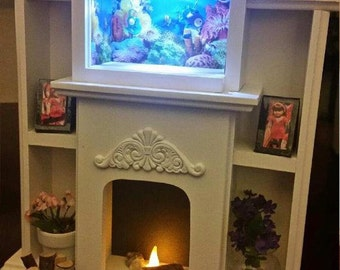 In stock american girl doll sized entertainment center for Fish tank fireplace