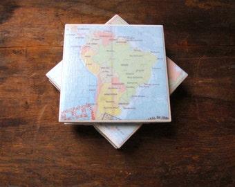 Tile Coasters, Vintage Coasters, Map Coasters, Drink Coasters, Ceramic Coasters, Table Coasters