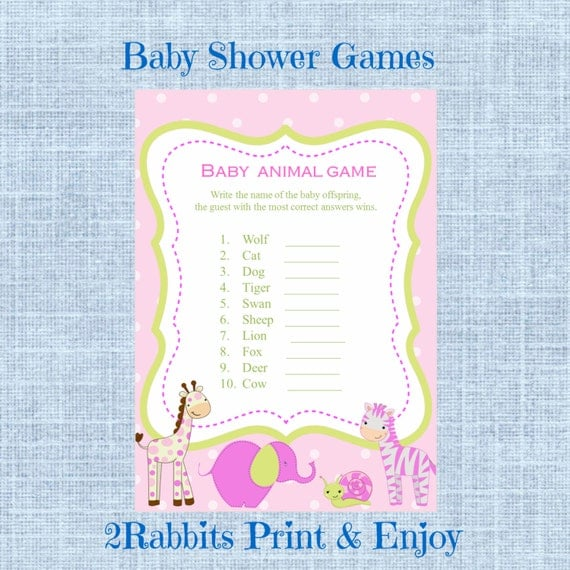 Baby Shower Game Name The Baby Animal: Items Similar To Safari Jungle Animal Girl Baby Shower