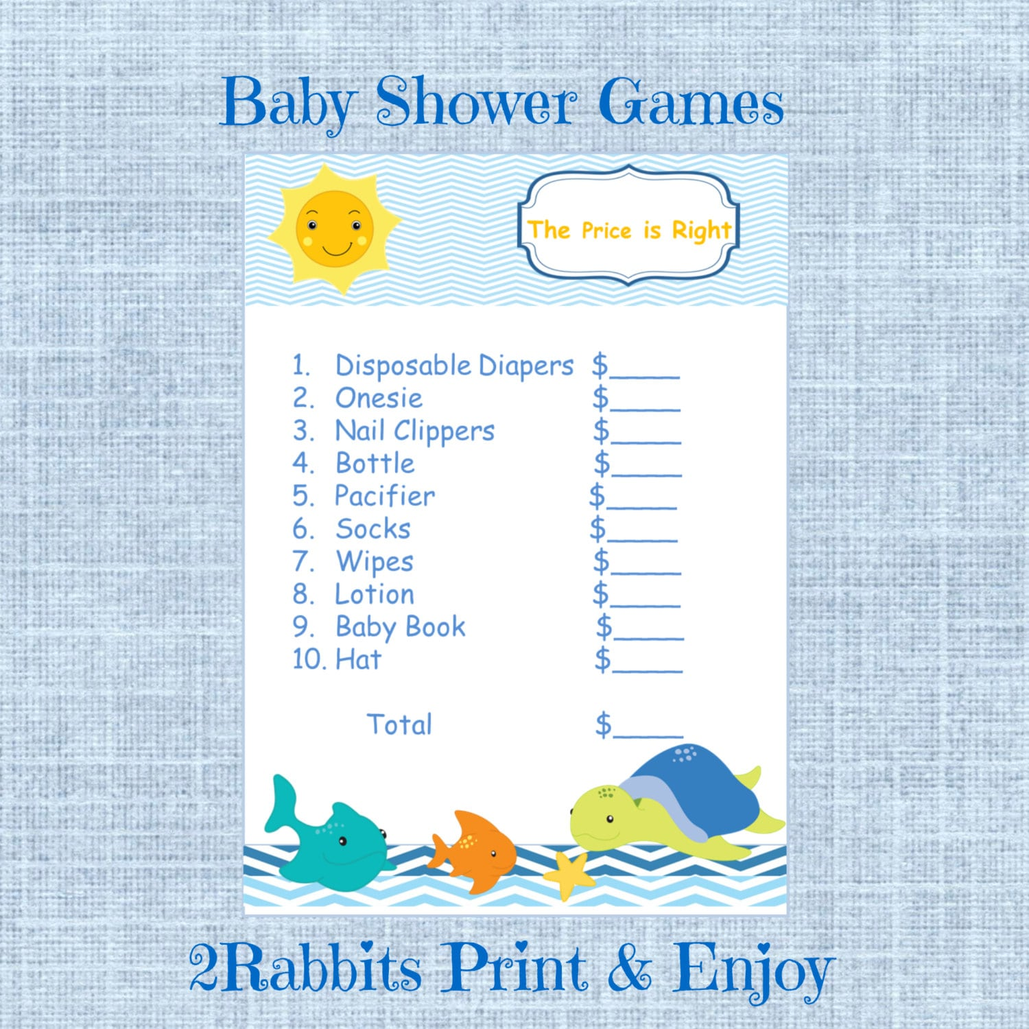under the sea baby shower the price is right by 2rabbitsprintenjoy