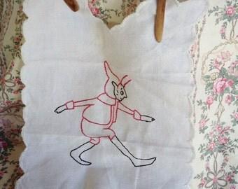 Vintage embroidered Elf panel handmade handstitched babybib?