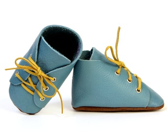 Baby Toddler Boy Girl Leather Slipper Shoes Booties Soft-Sole lace up blue Size 3 - 7,5