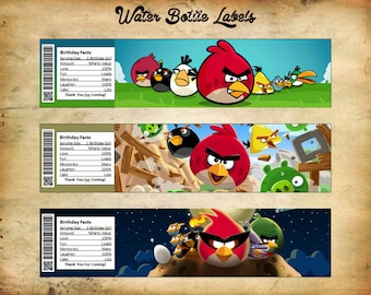 Angry Birds Water Bottle Label