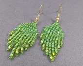Lime Green Beaded Dangle Earrings