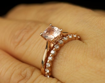 Talia Chloe & Brooke 2 Set - Morganite Solitaire Engagement Ring and Single Shared Prong Diamond Band in Rose Gold, Free Shipping