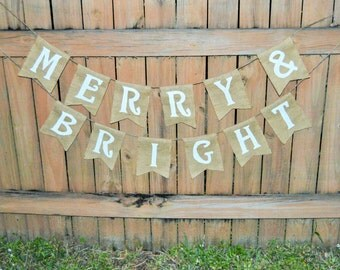 Burlap 'Merry & Bright' Banner
