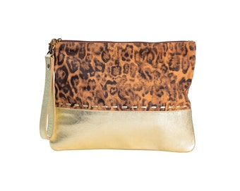 Leopard print clutch purse, evening bag, gold leather clutch, animal print pouch