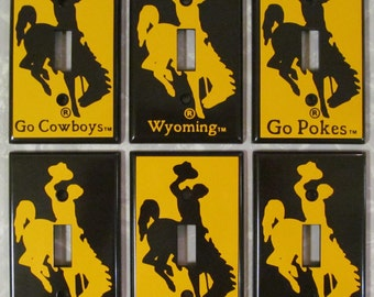 Licensed University of Wyoming Cowboys bucking horse & rider light switch plates 3 styles- 6-options -or make up your own