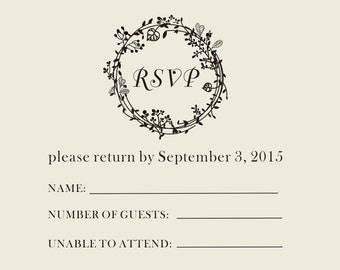 Custom  rubber stamp --DIY RSVP Stamp -Wedding Invitations Stationery Stamper Custom Rubber-floral stamp