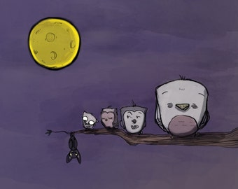 Owl Bat Illustration Print