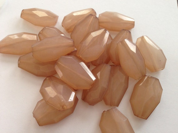 BLUSH- 25x16mm Small Translucent Faceted Acrylic Flat Slab Nugget Beads - 12pcs